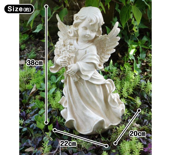 ポリ_花束を抱えた天使・サイズ