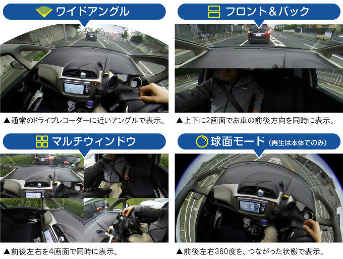 4種類のカメラモード
