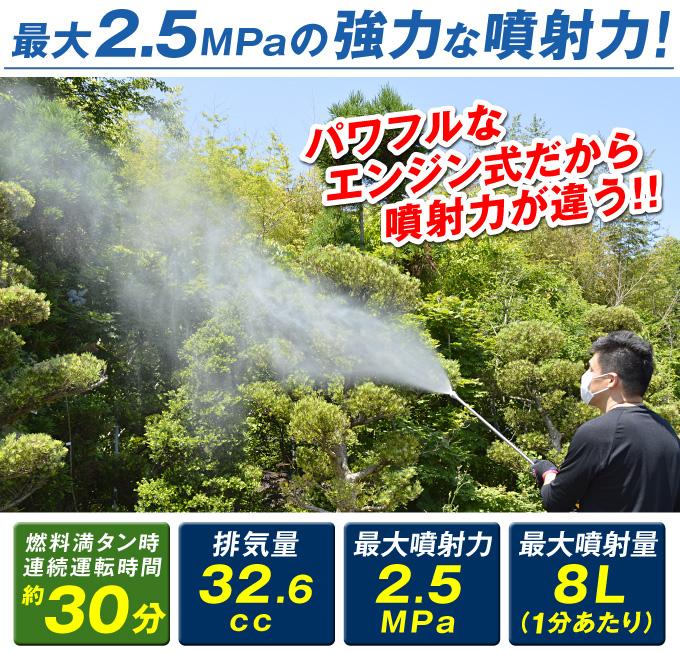 強力な噴霧力